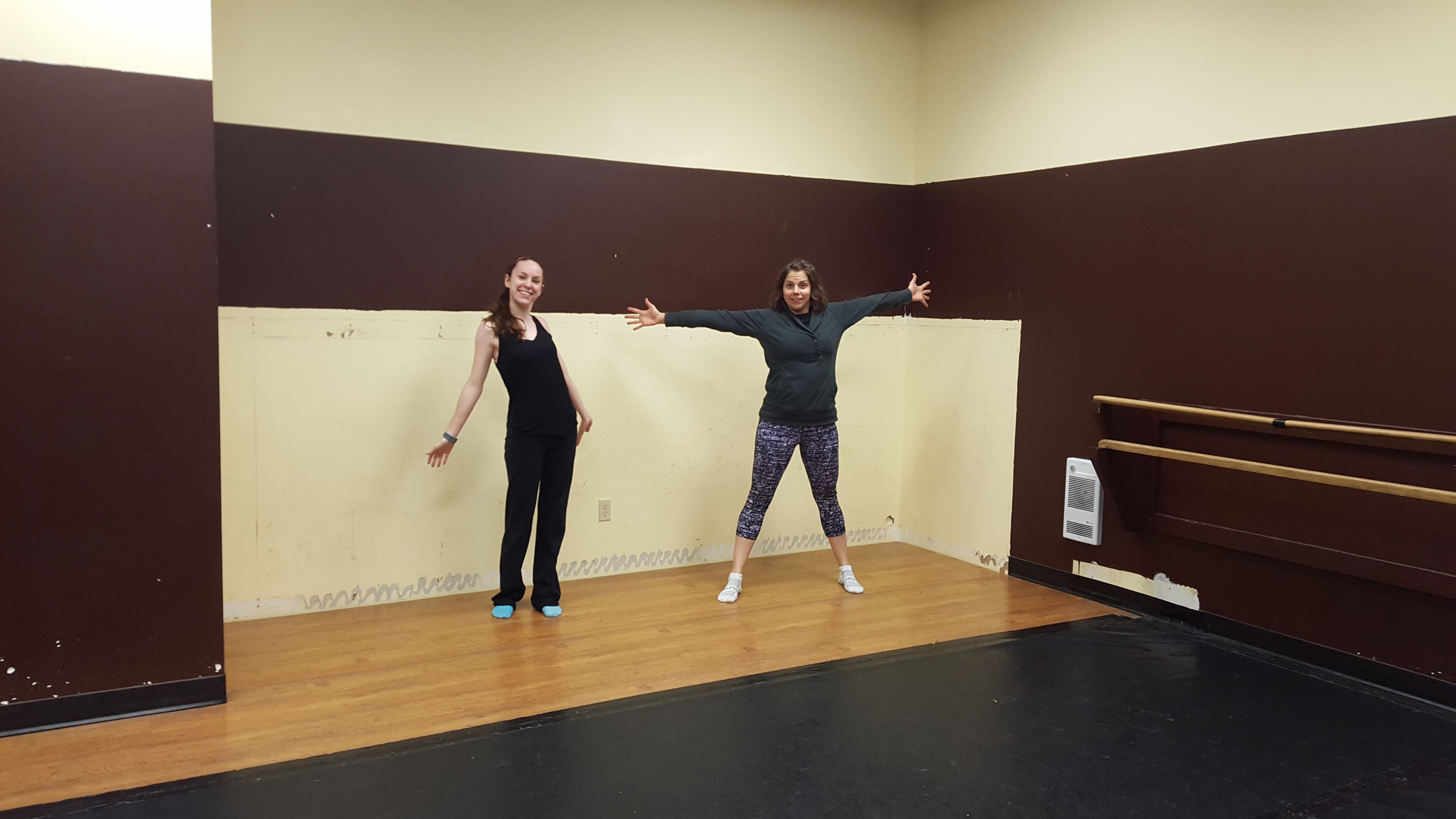 Advanced adults Leanne and Emily loving the additional studio space