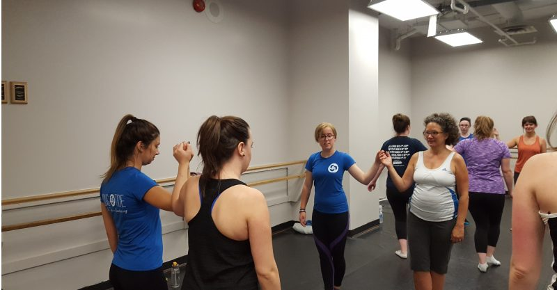 Beginner adult dancers learning ceilis